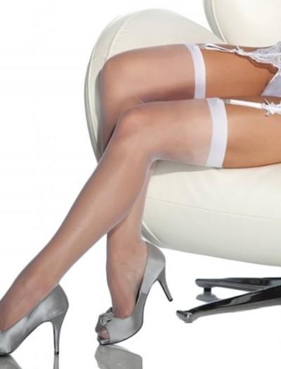 ReyonGO Fantazi Beyaz Düz Jartiyer Çorabı