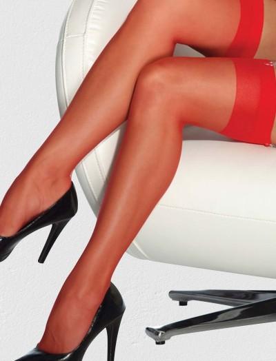 ReyonGO Fantezi Düz Kırmızı Jartiyer Çorabı