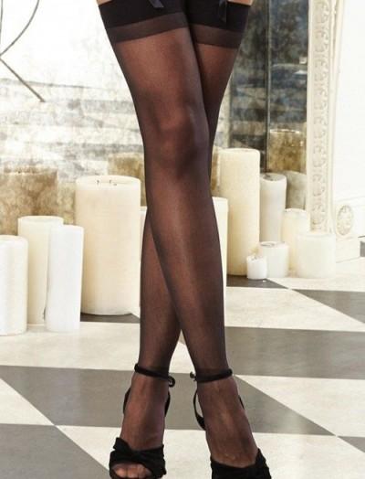 ReyonGO Fantezi Siyah Düz Jartiyer Çorabı