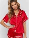 ReyonGO Ara Biyeli Saten Şortlu Pijama Takım Kırmızı
