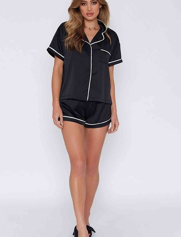 ReyonGO Ara Biyeli Saten Şortlu Pijama Takım Siyah