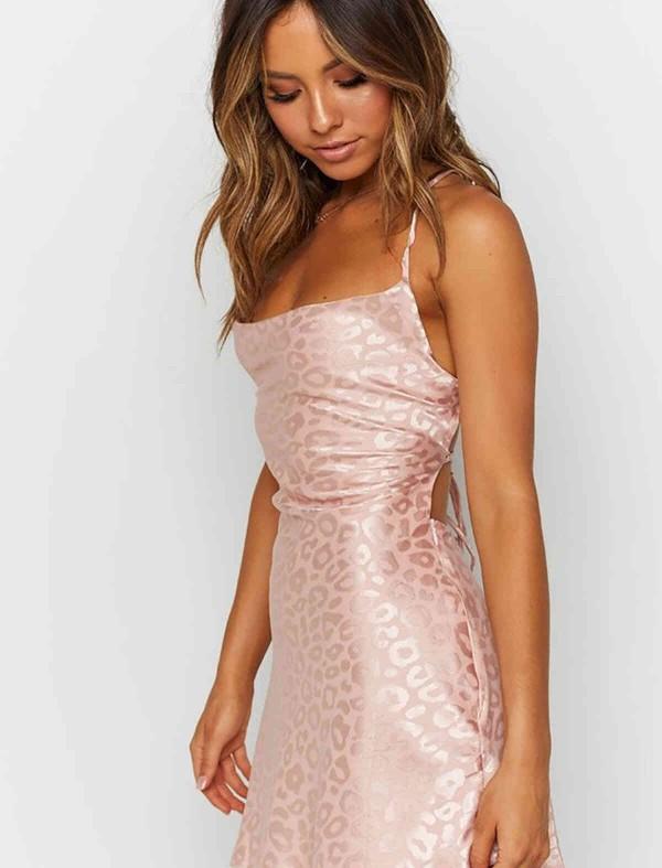 ReyonGO Baskılı Saten Mini Elbise Pembe