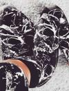 ReyonGO Baskılı Şık Tayt Büstiyer Takım Siyah