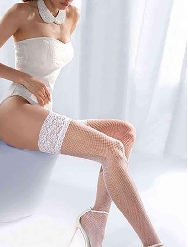 ReyonGO Beyaz File Silikonlu Dantelli Jartiyer Çorap