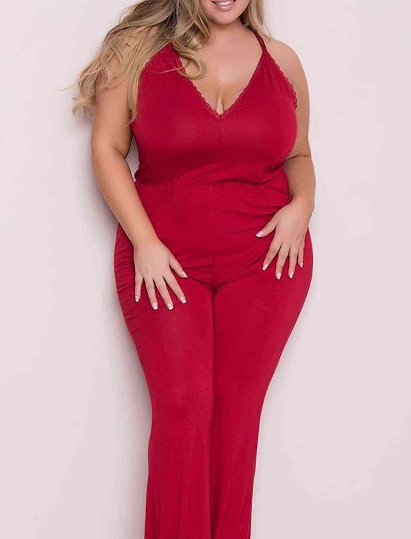 ReyonGO Büyük Beden Kırmızı Pijama Tulum