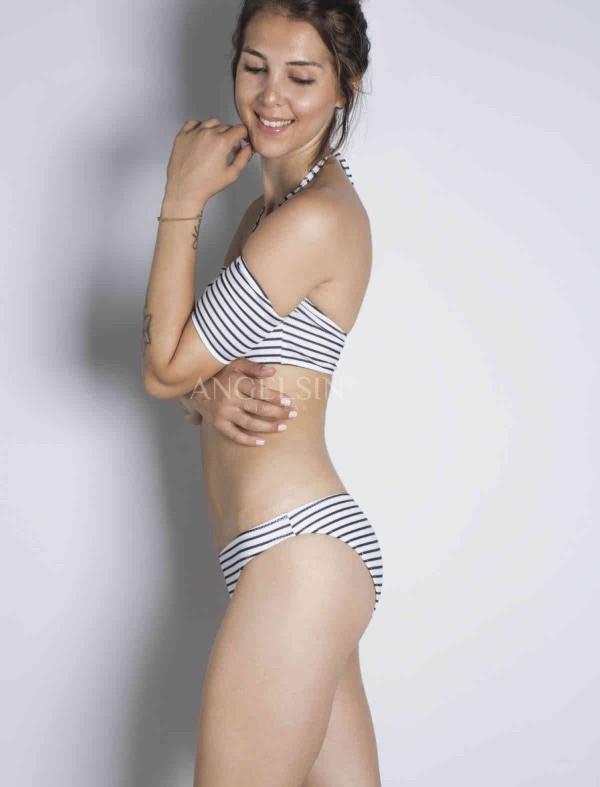 ReyonGO Çizgili Şık Straplez Bikini Takım