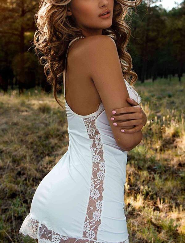ReyonGO Dantel İşlemeli Gecelik İç Giyim Beyaz