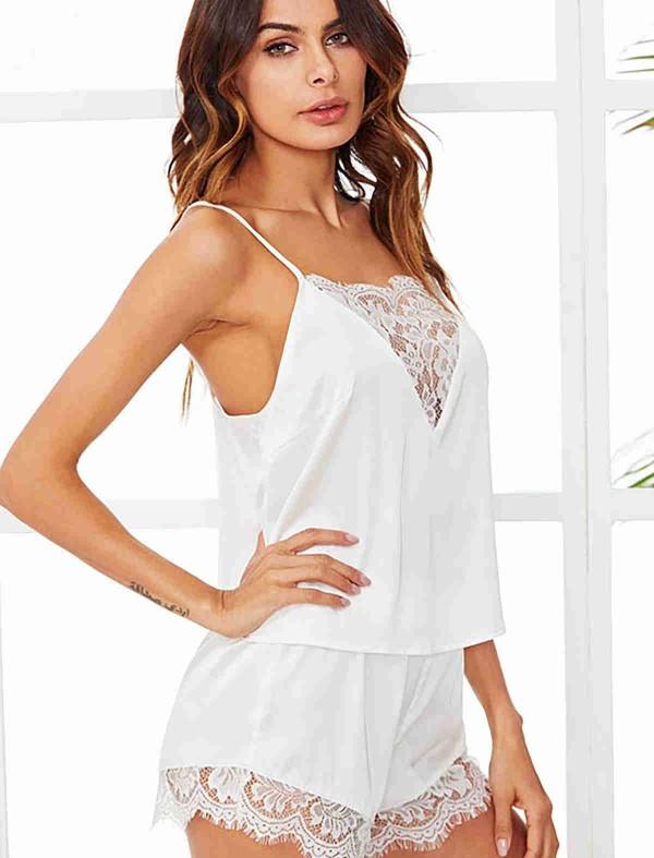 ReyonGO Dantel İşlemeli Saten Pijama Üst Beyaz