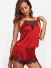 ReyonGO Dantel İşlemeli Saten Pijama Üst Kırmızı