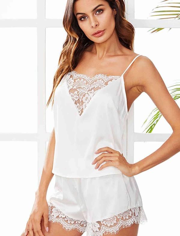 ReyonGO Dantel İşlemeli saten Şortlu Pijama Takım Beyaz