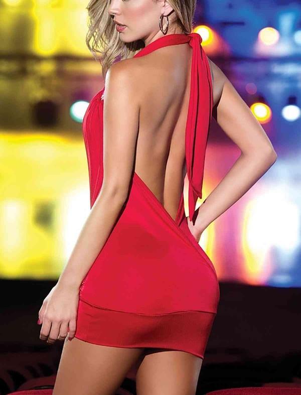 ReyonGO Dekolteli Mini Elbise Kırmızı