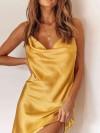ReyonGO Gögüs Degajeli Saten Elbise Sarı