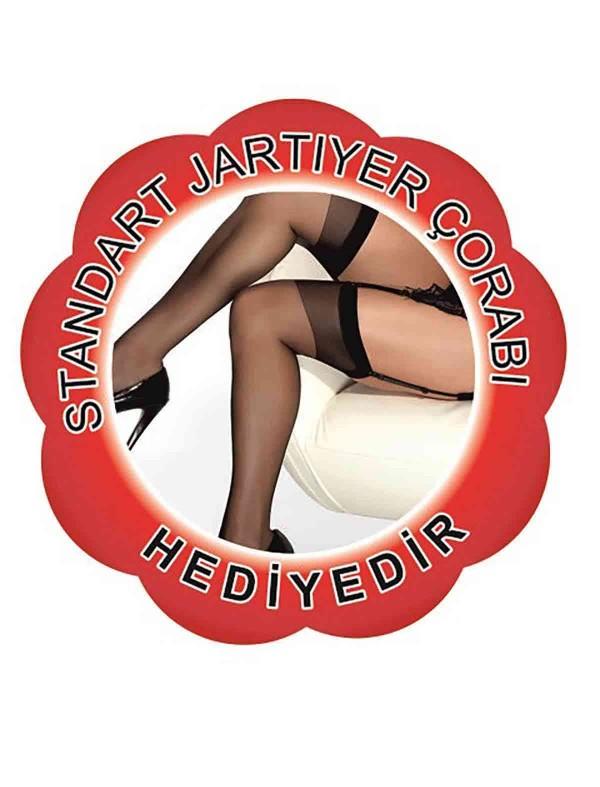 ReyonGO Kadife Seksi Jartiyer Takım Kırmızı