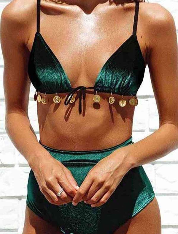 ReyonGO Kadife Yeşil Bikini Takım