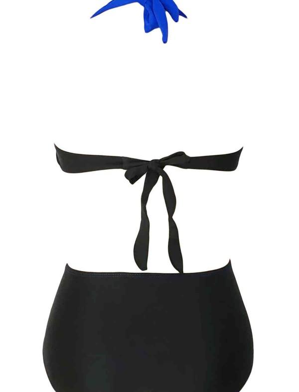 ReyonGO Kaplı Mavi Siyah Şık Tasarımlı Yüksek Bel Bikini