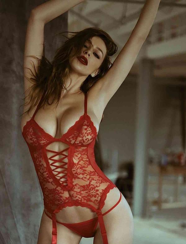 ReyonGO Kelepçeli Kırmızı Jartiyer Takımları+ ÇORAP HEDİYELİ