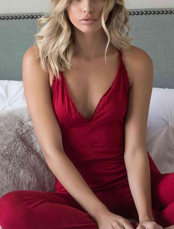 ReyonGO Kırmızı Dantel İşlemeli Askılı Eşofman Pijama Tulum