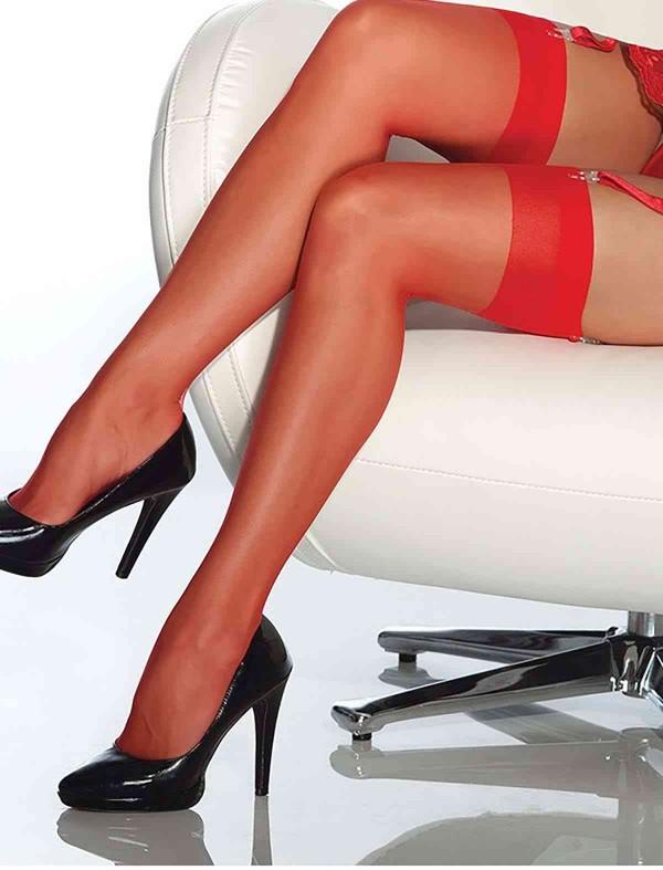 ReyonGO Kırmızı Dantelsiz Jartiyer Çorabı