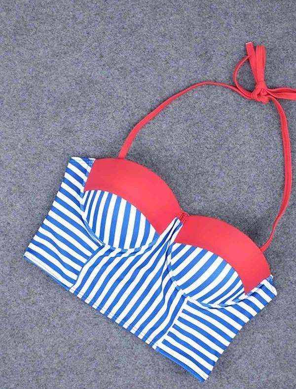 ReyonGO Mavi Cizgili Şık Bikini Üst