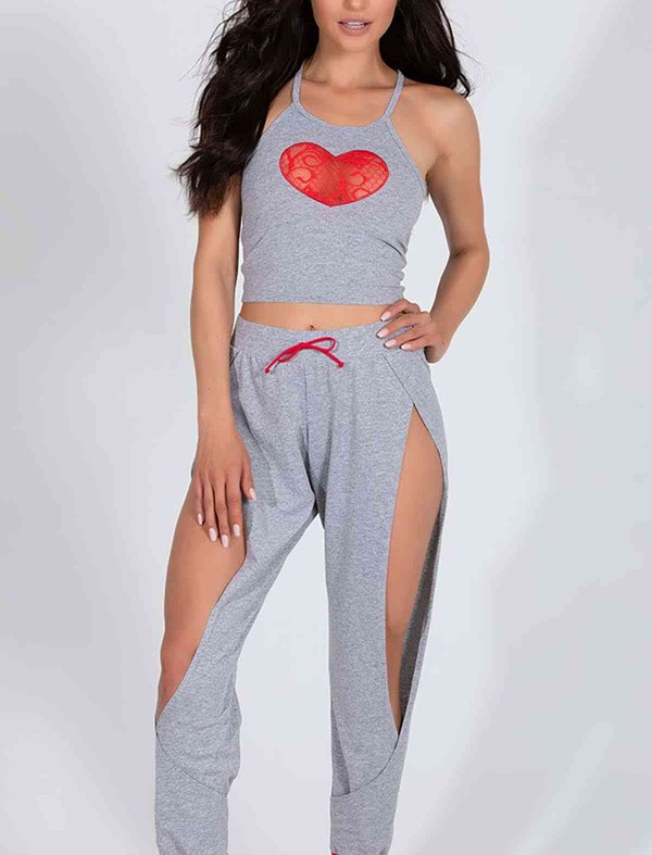 ReyonGO Özel Tasarım Dantel Kalp Tasarımlı Pijama Takım Gri