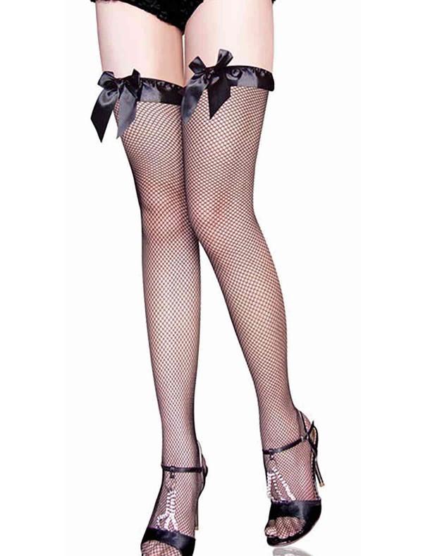 ReyonGO Özel Tasarım File Jartiyer Çorabı Siyah