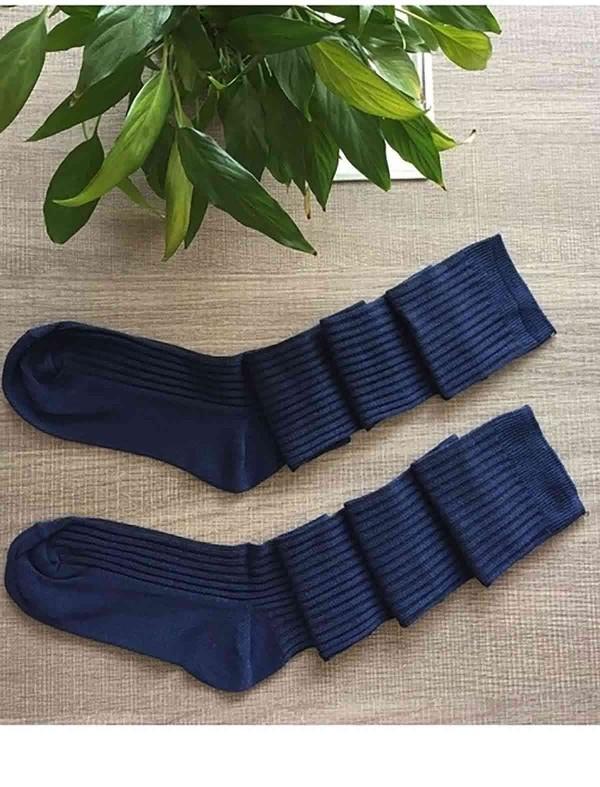 ReyonGO Parfümlü Örgü Diz Üstü Çorap Lacivert