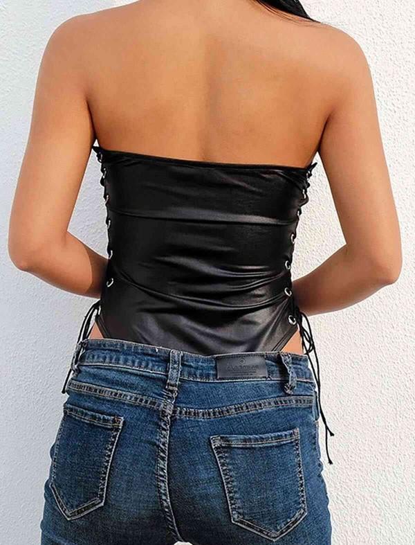 ReyonGO Parlak Görünümlü Fantezi İç giyim Body Siyah