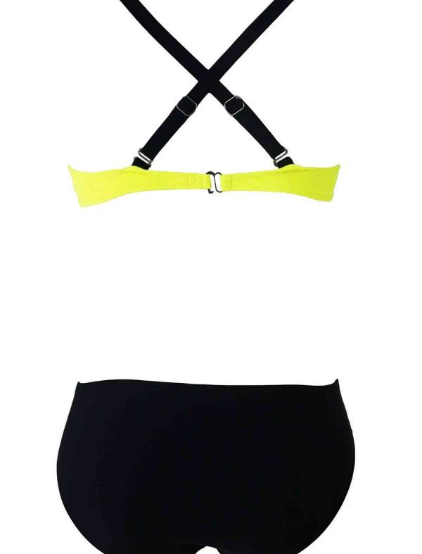 ReyonGO Sarı Siyah Şık Bikini Tek Alt