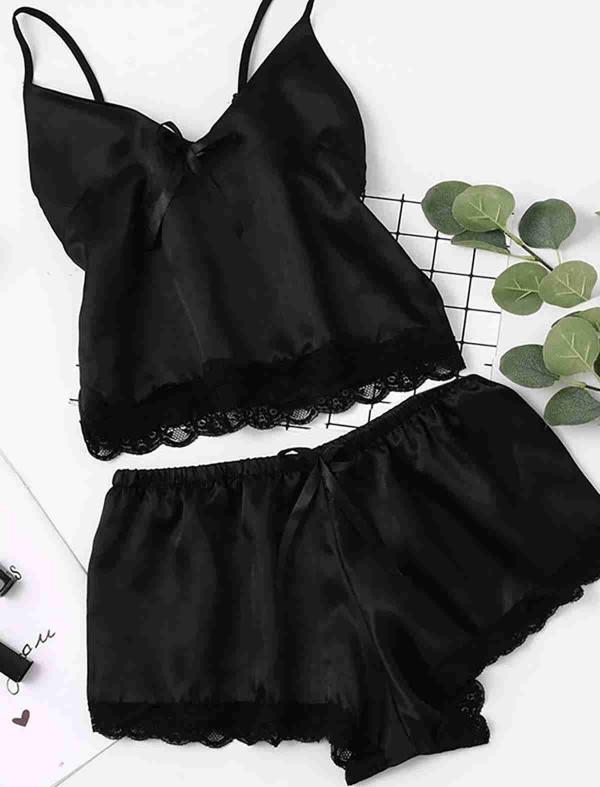 ReyonGO Saten Dantelli Pijama Üst Siyah