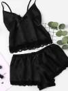 ReyonGO Saten Dantelli Şortlu Pijama Takım Siyah