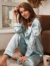 ReyonGO Saten Pijama Takım Hakim Yakalı Mavi