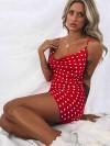 ReyonGO Saten Puantiyeli Mini Elbise Kırmızı
