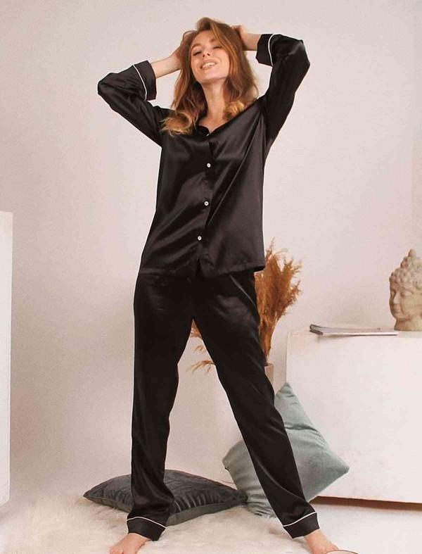 ReyonGO Saten Şık Pijama Takım Hakim Yakalı Siyah