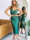 ReyonGO Saten Uzun Yırtmaçlı Gecelik Elbise Yeşil