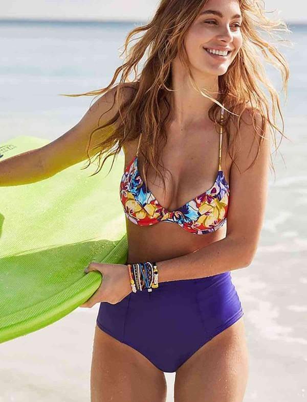 ReyonGO Şık Renkli Destekli Bel Bikini Üst