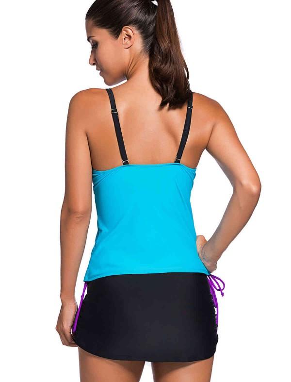 ReyonGO Şık Renkli Tankini Etekli Bikini Takım
