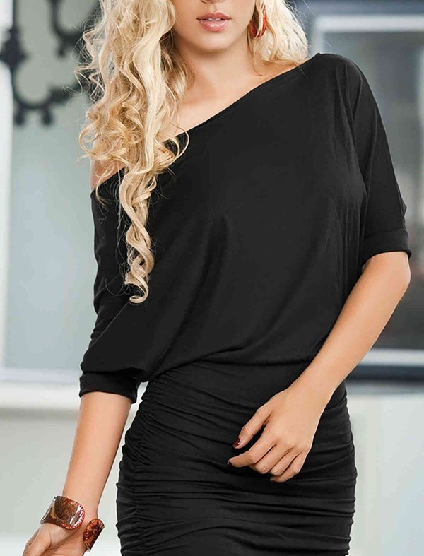ReyonGO Şık Siyah Mini Elbise