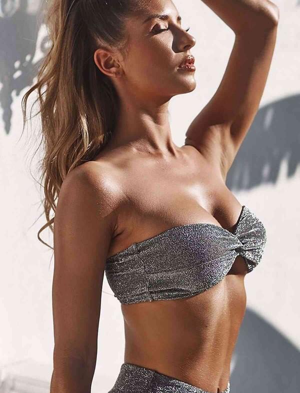 ReyonGO Simli Straplez Bikini Alt Üst Takım Gri