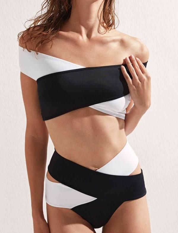 ReyonGO Siyah Beyaz Çapraz Bikini Alt