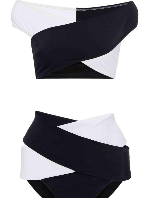 ReyonGO Siyah Beyaz Çapraz Bikini Üst