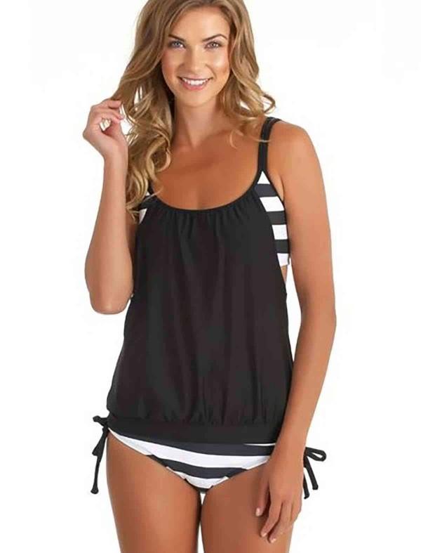 ReyonGO Siyah Beyaz Kalın Cizgili Tankini Bikini Takım