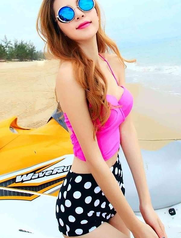 ReyonGO Üstü pembe Yüksek Bel Şık Bikini