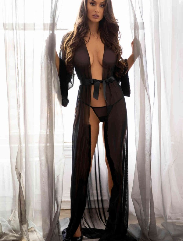 ReyonGO Uzun Tül Sabahlık Gecelik İç Giyim Siyah