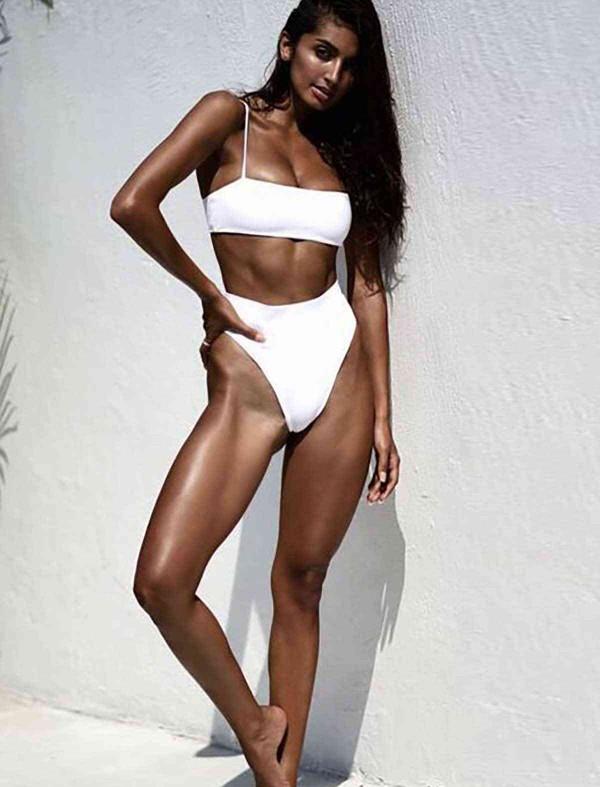ReyonGO V Kesim Yüksek Bel Bikini Takım Beyaz